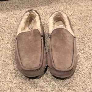 Ugg brown suede Ascot loafer sheepskin slipper 12
